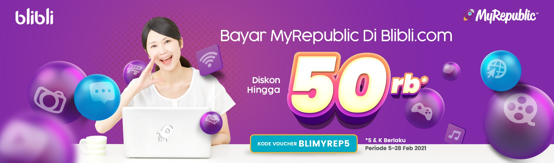 Promo Pembayaran MyRepublic melalui Blibli.com